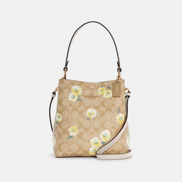 Small Town Bucket Bag In Signature Canvas With Daisy Print