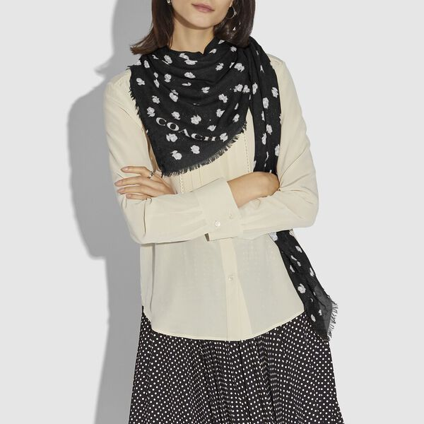 Signature And Floral Print Oversized Square Scarf, BLACK, hi-res