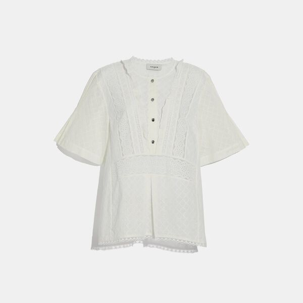 Broderie Anglaise Top, CREAM, hi-res