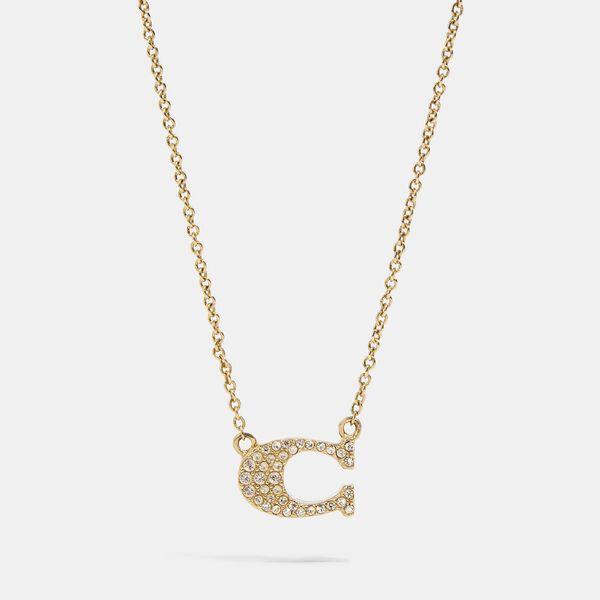 Pave Signature Necklace, GOLD, hi-res