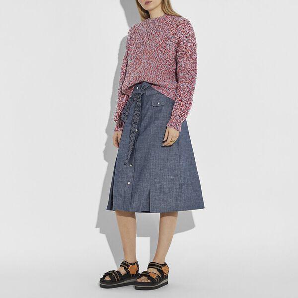 Open Knit Sweater, ORANGE, hi-res