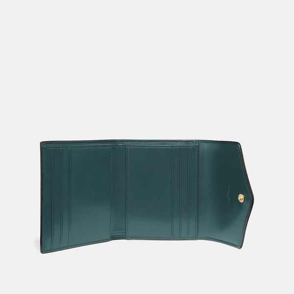 Small Wallet In Colorblock Signature Canvas, B4/TAN FOREST, hi-res