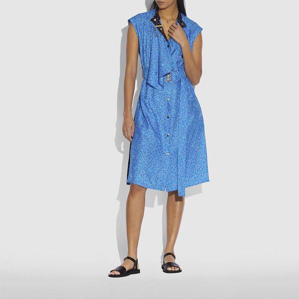 Dot Sleeveless Dress With Belt, Blue/Pink, hi-res
