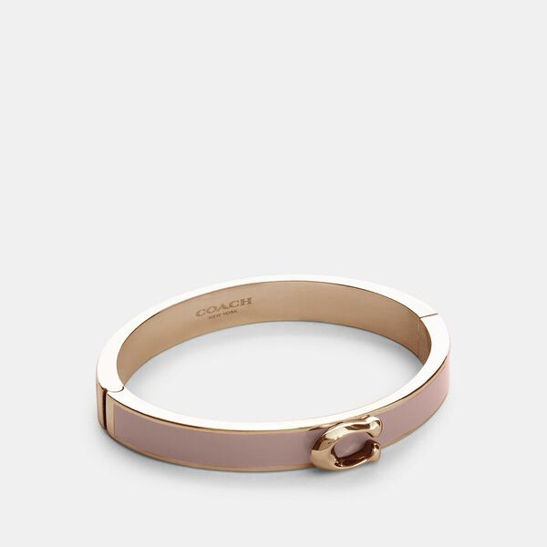 Signature Push Hinged Bangle, RS/BLOSSOM, hi-res
