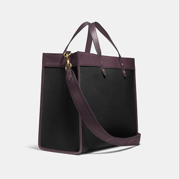 Field Tote 40 In Colorblock With Coach Badge, B4/BLACK OXBLOOD MULTI, hi-res