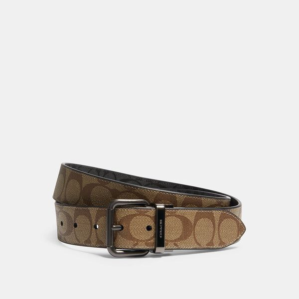 Roller Buckle Cut-To-Size Reversible Belt, 38Mm, QB/TAN CHARCOAL, hi-res