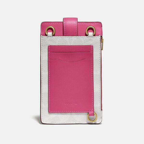 Turnlock Chain Phone Crossbody In Blocked Signature Canvas, B4/CHALK CONFETTI PINK, hi-res