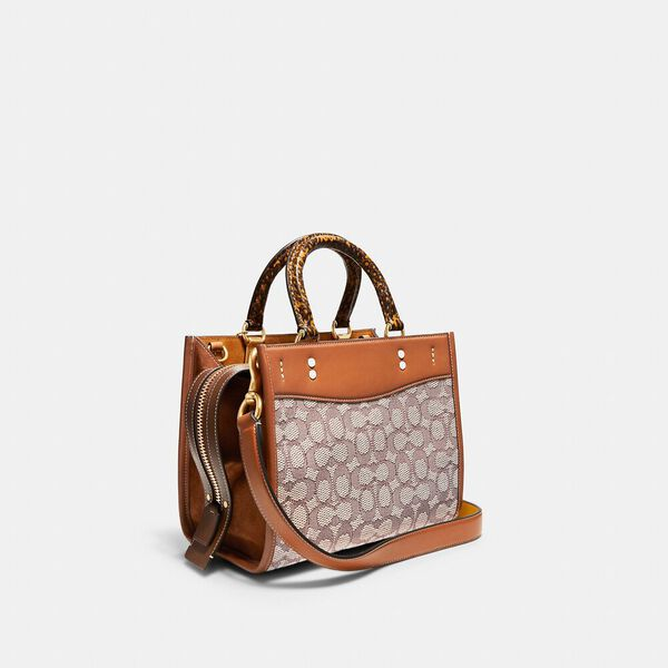 Rogue 25 In Signature Textile Jacquard With Snakeskin Detail, B4/BROWN, hi-res