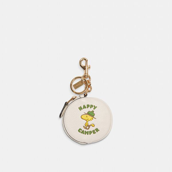 Coach X Peanuts Circular Pouch Bag Charm With Woodstock