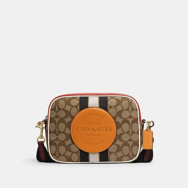 Dempsey Camera Bag In Signature Jacquard With Stripe And Coach Patch, IM/KHAKI SUNBEAM MULTI, hi-res