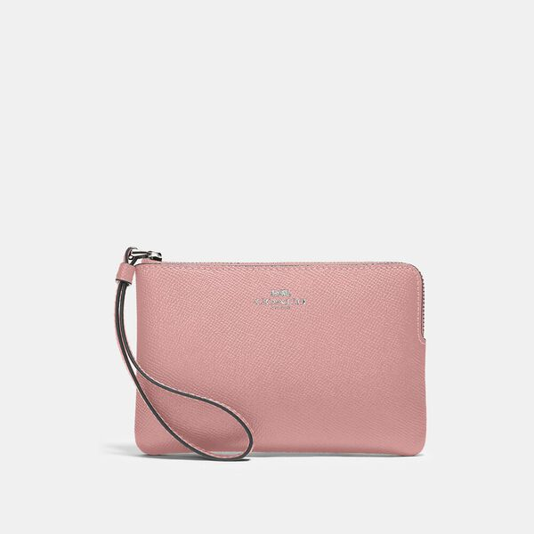 Corner Zip Wristlet, SV/LIGHT BLUSH, hi-res
