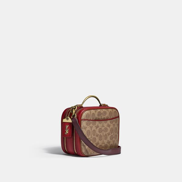 Riley Lunchbox Bag In Colorblock Signature Canvas, B4/TAN RED APPLE MULTI, hi-res