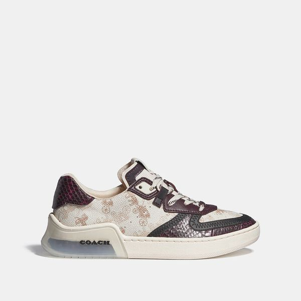 Citysole Court Sneaker With Horse And Carriage Print And Snakeskin Detail, IVORY/WINE, hi-res