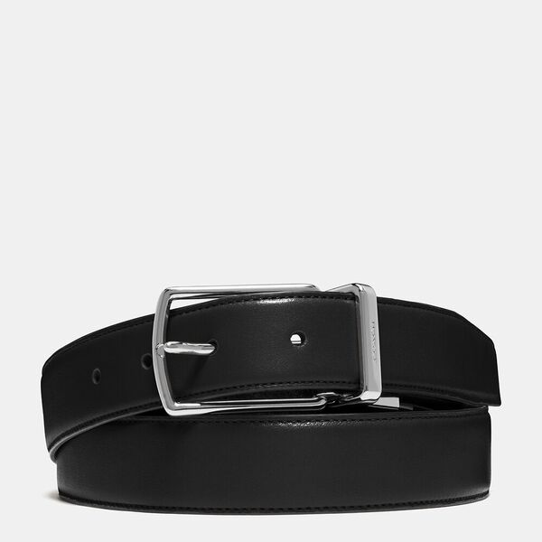 Harness Buckle Cut-To-Size Reversible Belt, 32mm, BLACK/DARK BROWN, hi-res