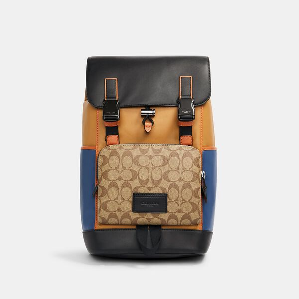 Track Backpack In Colorblock Signature Canvas