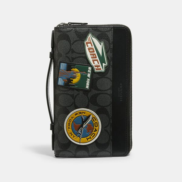 Double Zip Travel Organizer In Signature Canvas With Travel Patches, QB/CHARCOAL MULTI, hi-res