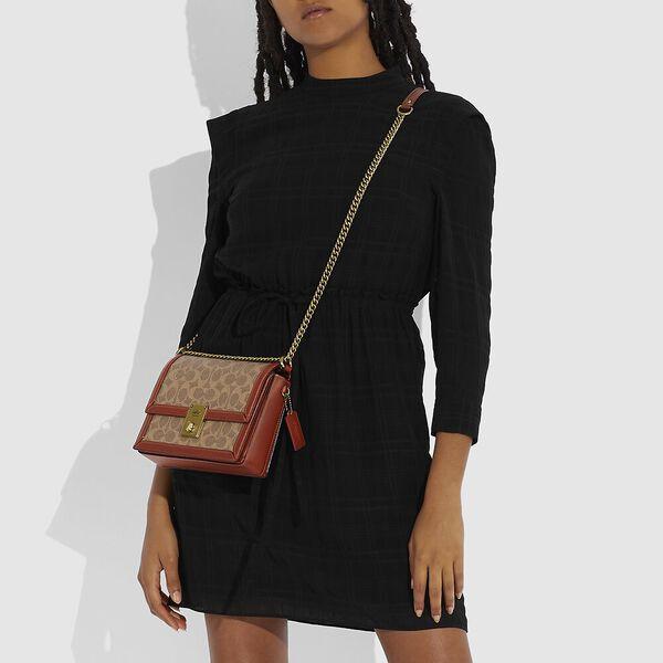 Hutton Shoulder Bag In Signature Canvas, B4/TAN RUST, hi-res