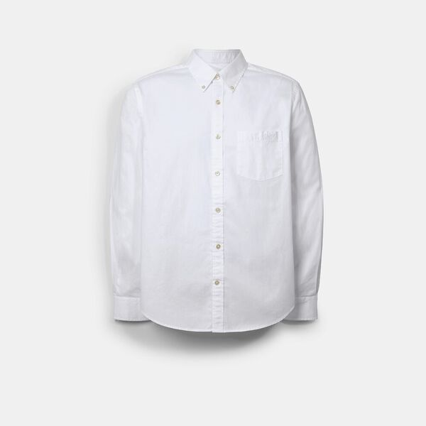 Long Sleeve Oxford Shirt, WHITE, hi-res