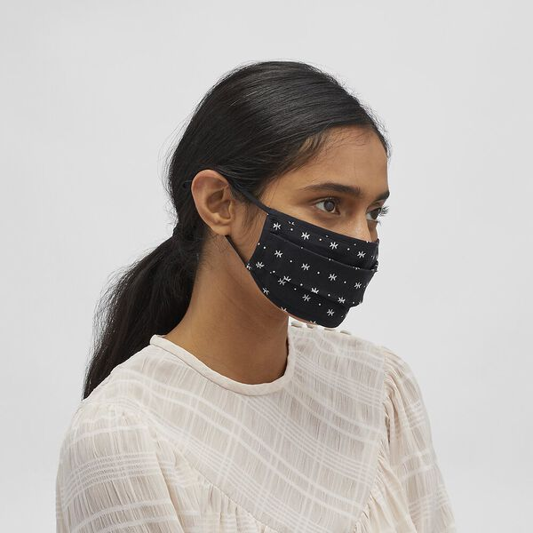 Rexy Face Mask With Star Dot Print, BLACK/WHITE, hi-res