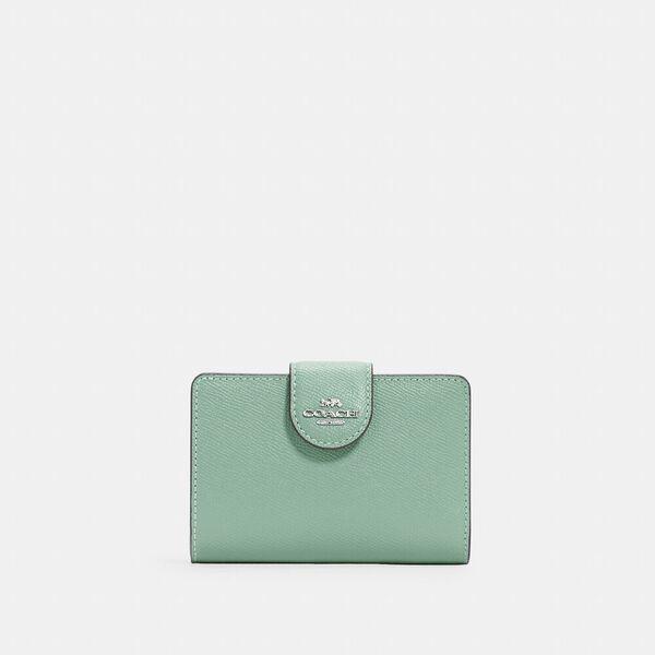 Medium Corner Zip Wallet, SV/WASHED GREEN, hi-res