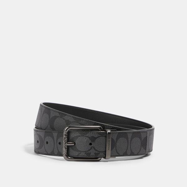 Roller Buckle Cut-To-Size Reversible Belt, 38mm, QB/CHARCOAL/BLACK, hi-res