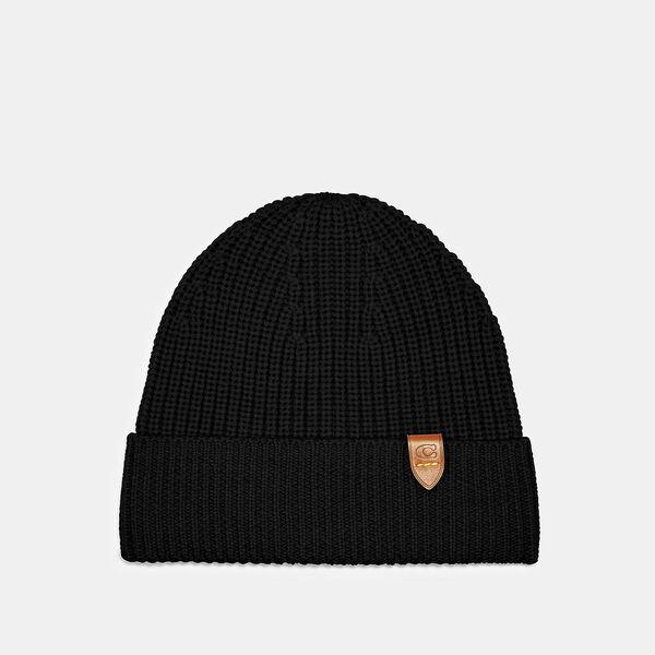 Knit Beanie, BLACK, hi-res