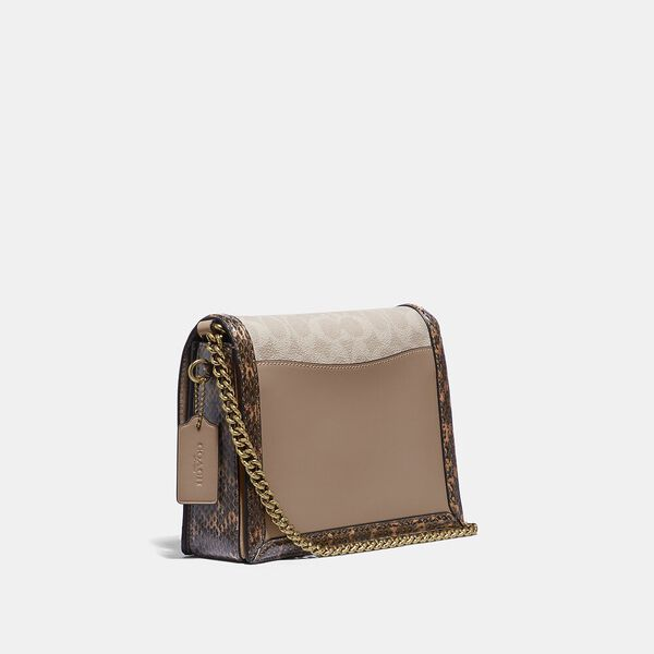 Hutton Shoulder Bag In Blocked Signature Canvas With Snakeskin Detail, B4/TAN SAND, hi-res
