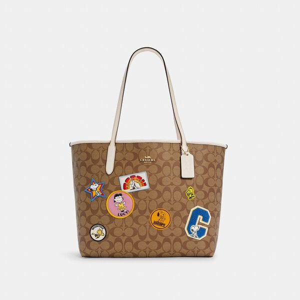 Coach X Peanuts City Tote In Signature Canvas With Varsity Patches