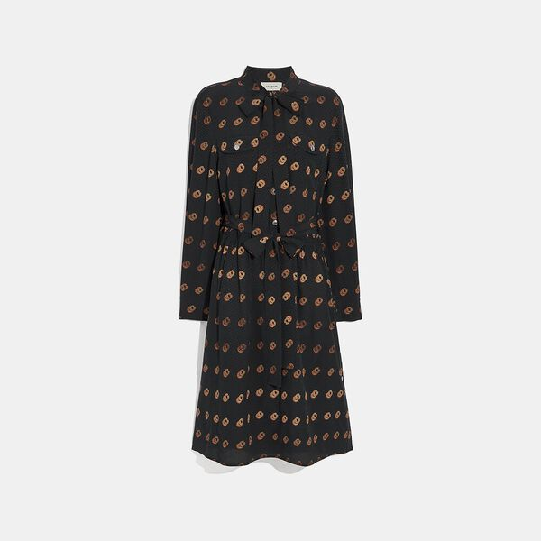 Print Tie Neck Dress, Black/Orange, hi-res
