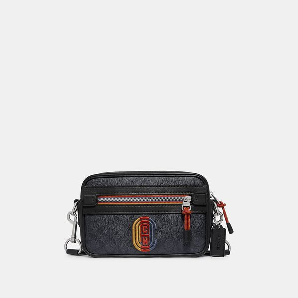 Academy Crossbody In Signature Canvas With Varsity Zipper And Coach Patch, SV/CHARCOAL MULTI, hi-res