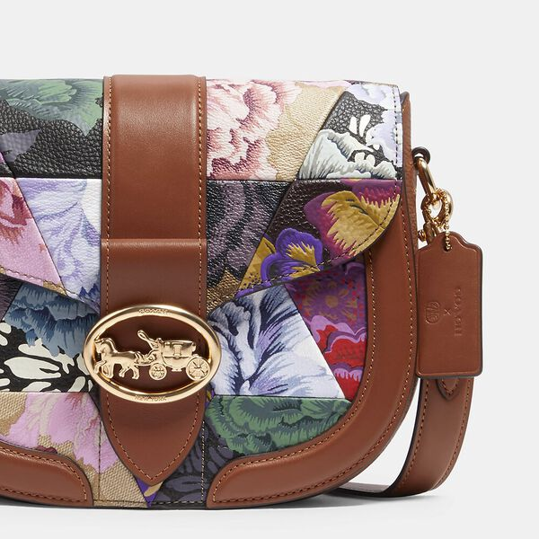 Georgie Saddle Bag With Patchwork Kaffe Fassett Print, IM/KHAKI PINK MULTI, hi-res