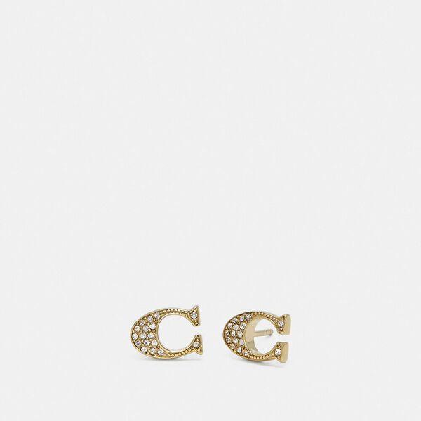 Signature Stud Earrings, GOLD, hi-res