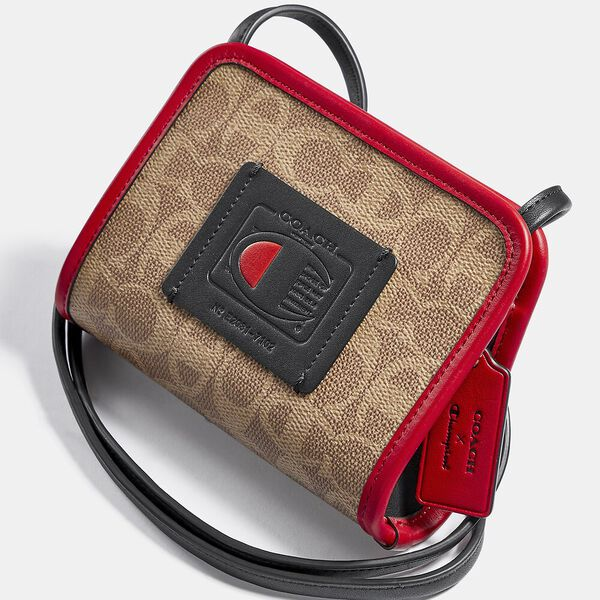 Coach X Champion Rectangle Pouch In Signature Canvas, B4/TAN RED, hi-res