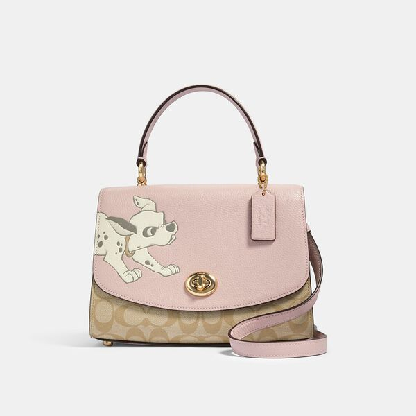 Disney X Coach Tilly Top Handle Satchel In Signature Canvas With Dalmatian, IM/BLOSSOM/LIGHT KHAKI MULTI, hi-res