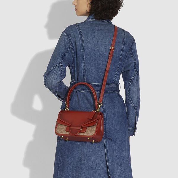 Cody Shoulder Bag In Signature Canvas With Whipstitch, B4/TAN RUST, hi-res
