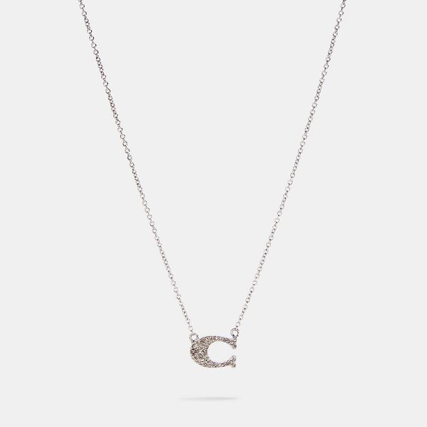 Pave Signature Necklace, SILVER, hi-res
