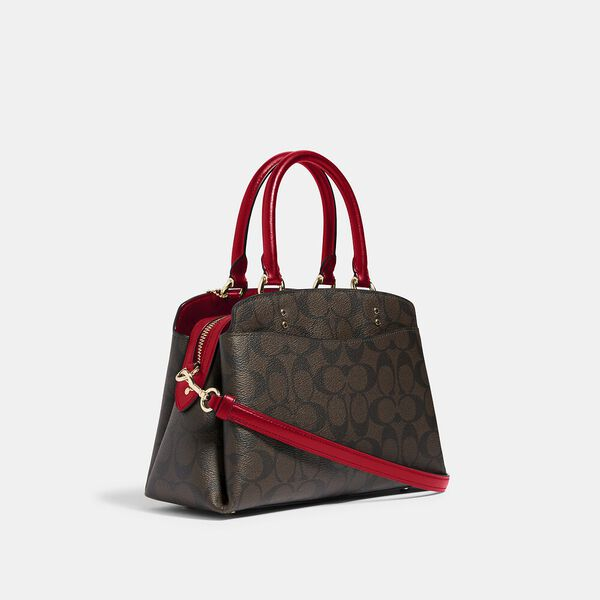 Mini Lillie Carryall In Signature Canvas, IM/BROWN 1941 RED, hi-res