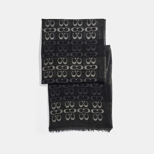 Signature Ombre Stripe Oblong Scarf, BLACK MULTI, hi-res