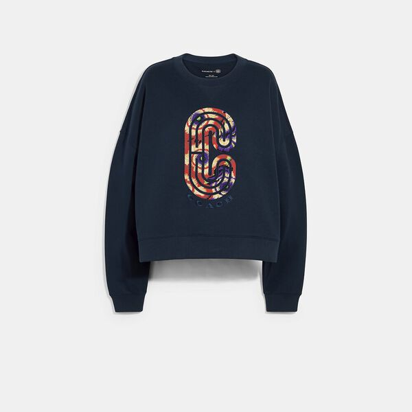 Relaxed Crewneck With Kaffe Fassett Print, BRIGHT NAVY, hi-res