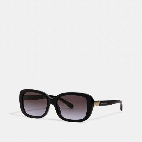 Signature Rectangle Sunglasses, BLACK, hi-res