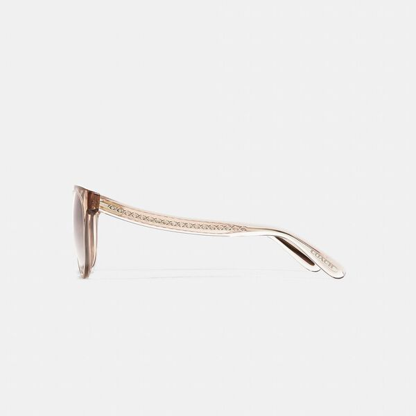 Sculpted Signature Round Frame Sunglasses, TRANSPARENT BROWN, hi-res