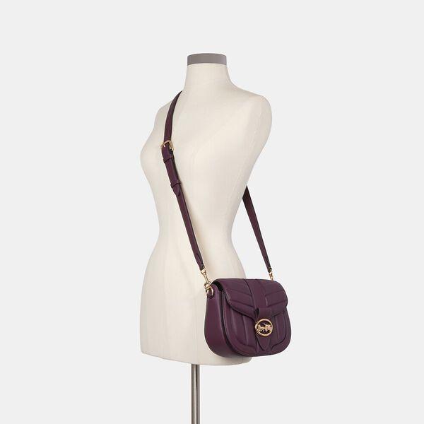 Georgie Saddle Bag With Quilting, IM/BOYSENBERRY, hi-res