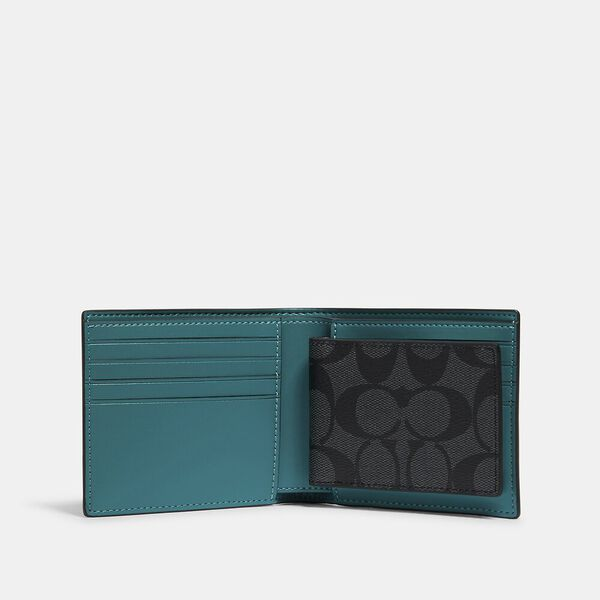 3-In-1 Wallet In Signature Coated Canvas With Rexy By Guang Yu, QB/CHARCOAL BLUE GREEN, hi-res