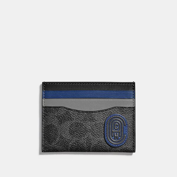 Card Case In Colorblock Signature Canvas With Coach Patch, CHARCOAL/DEEP SKY, hi-res