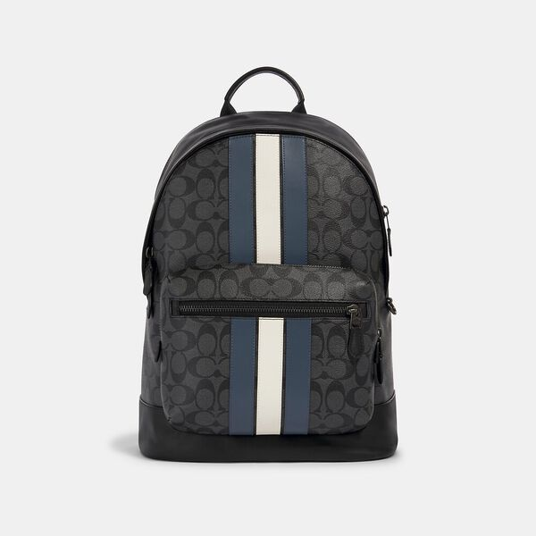 West Backpack In Signature Canvas With Varsity Stripe, QB/CHARCOAL/DENIM/CHALK, hi-res