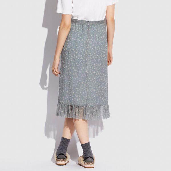 Crepon Skirt, GREY/PALE PINK, hi-res
