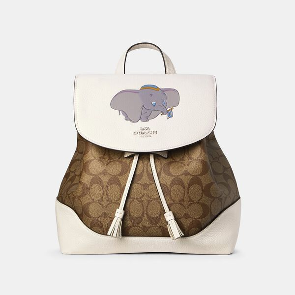 Disney X Coach Elle Backpack In Signature Canvas With Dumbo, SV/CHALK KHAKI MULTI, hi-res