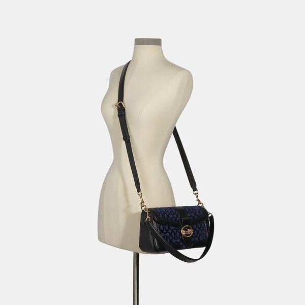 Georgie Shoulder Bag In Signature Velvet, IM/COBALT, hi-res