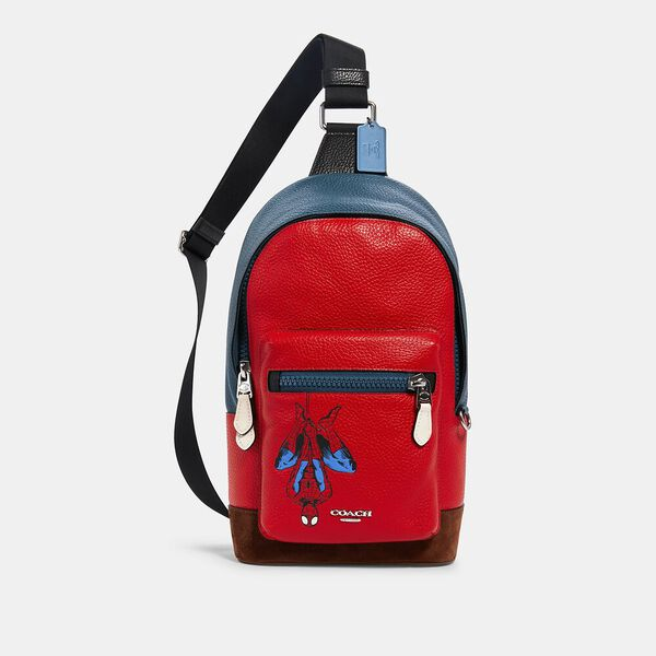 Coach x Marvel West Pack With Spider-Man, SV/MIAMI RED, hi-res