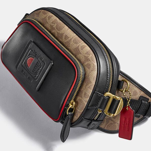 Coach X Champion Belt Bag In Signature Canvas, OL/KHAKI MULTI, hi-res